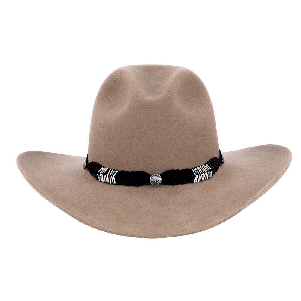 Black w/Quills TQ Beads 4 Feather 3 Buffalo Button Hatband