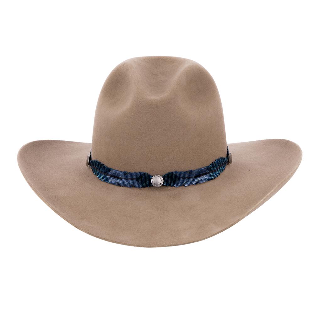 Blue Metal w/Blue Satin Hatband Indian Head Buttons
