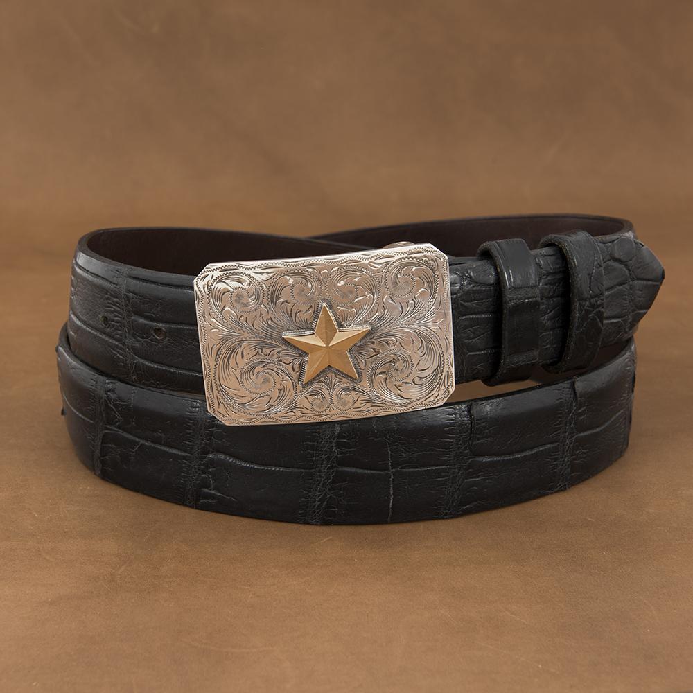 MESA WESTERN ENGRAVED BUCKLE W/ 14K STAR