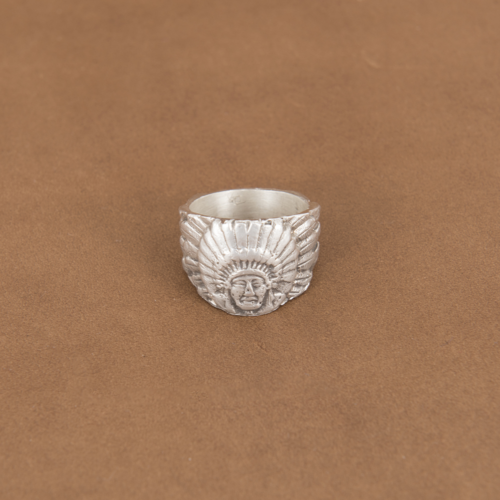 ST STERLING SILVER INDIAN CHIEF RING 10.5