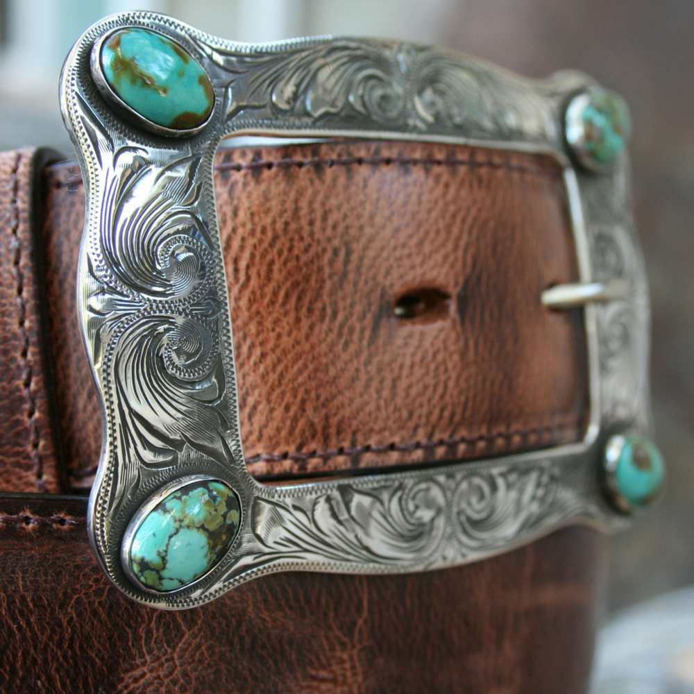 LARGE HART BUCKLE W/ WESTERN ENGRAVING AND TQ