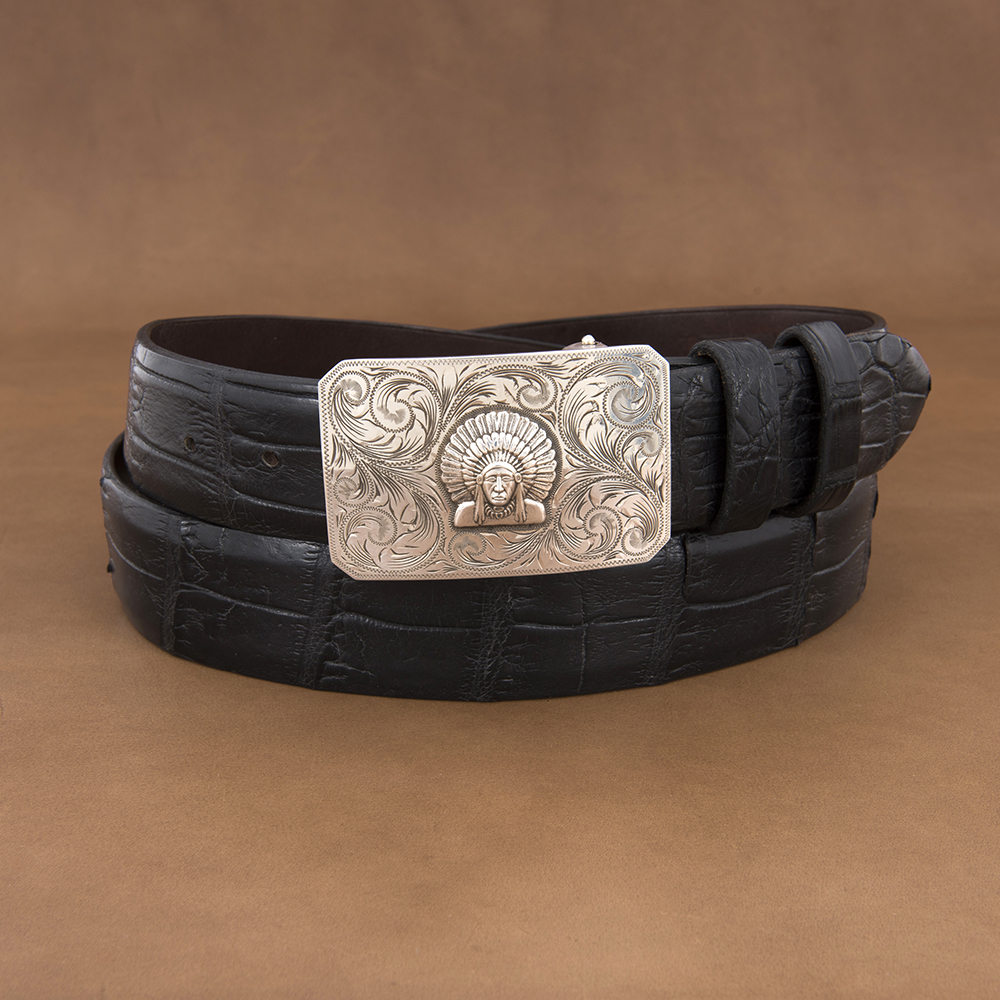 SUNSET TRAILS ENGRAVED MESA BUCKLE W/ HP CHIEF