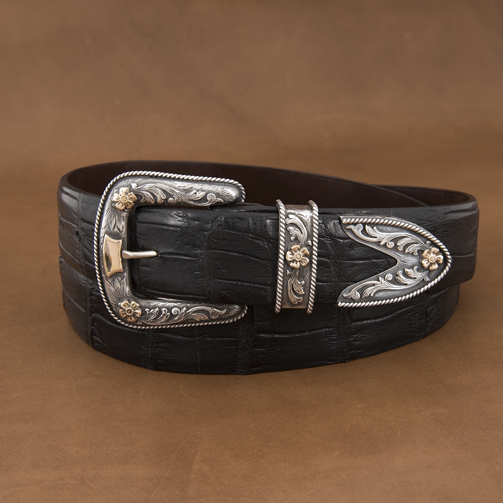 SUNSET TRAILS PAXTON SS BUCKLE SET W/ 14K GOLD