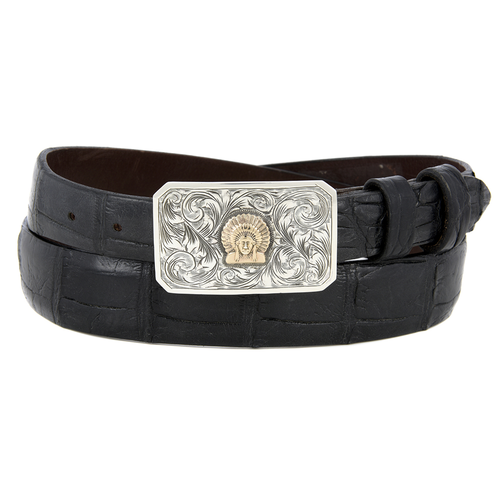 SST ENGRAVED PLAIN BUCKLE W/ 14K CHIEF