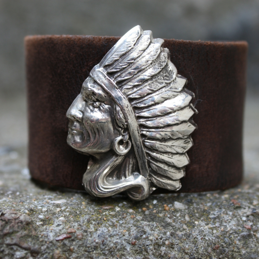 SIDE CHIEF AND WEATHERED LEATHER CUFF (2 InStock)