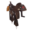 BURNS 3/4 CHOCOLATE RO ROPE SADDLE W/ 1/4 WYO AND LOGOS