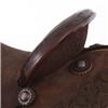 BURNS CHOCOLATE RO BARREL SADDLE W/ ROSE FLORAL CORNER