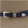 BLUE FQ OSTRICH HATBAND W/ 9 TQ AND SS DIAMONDS