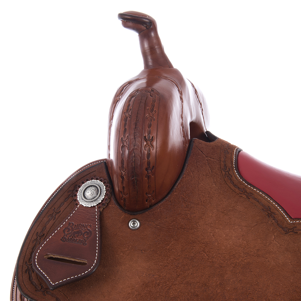 BURNS SADDLERY CHESTNUT BARREL RED INLAY
