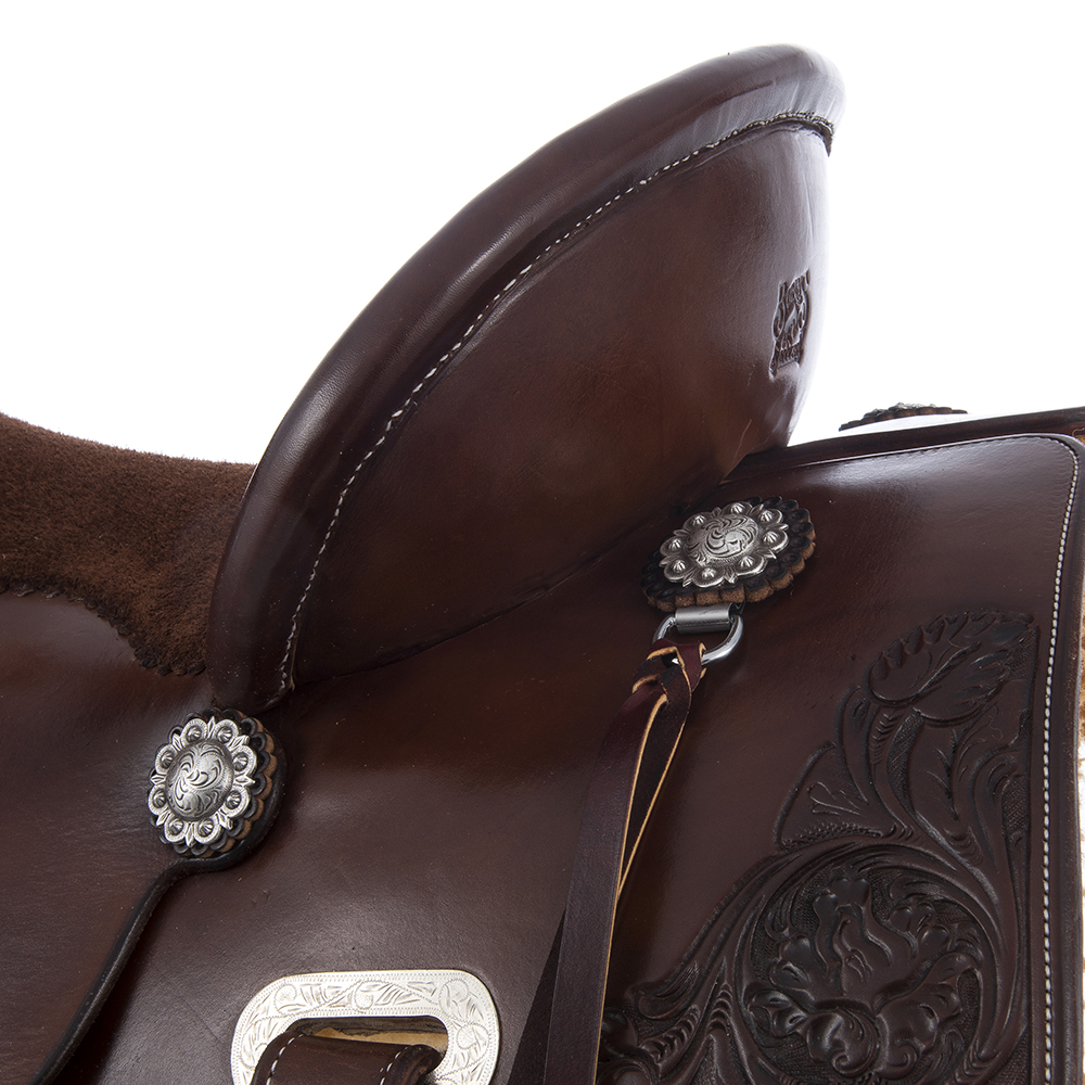 BURNS SADDLERY CHOCOLATE SADDLE W/ROSE ()