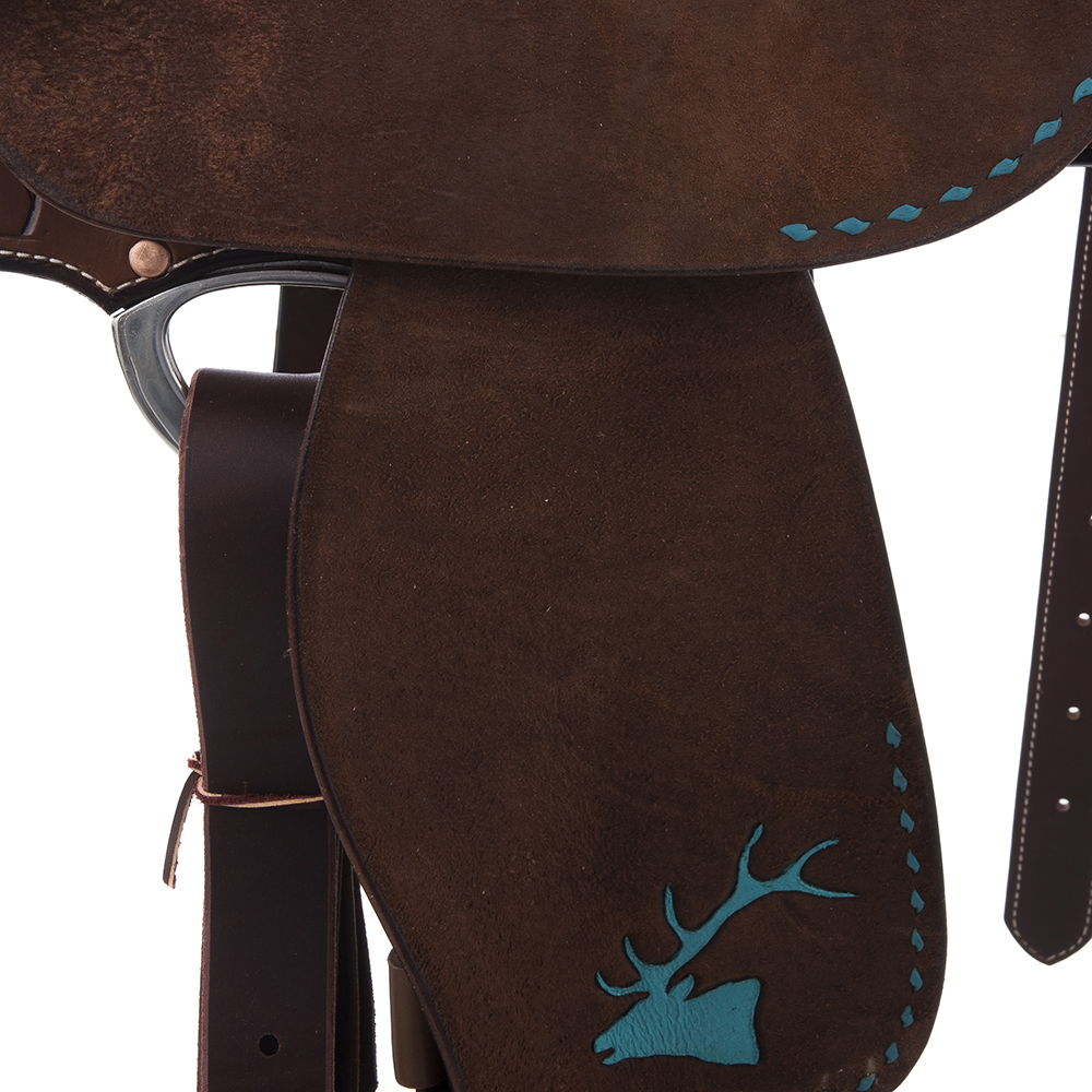 BURNS CHOCOLATE SO/RO BARREL SADDLE W/ FEATHER FLORAL AND BRAND