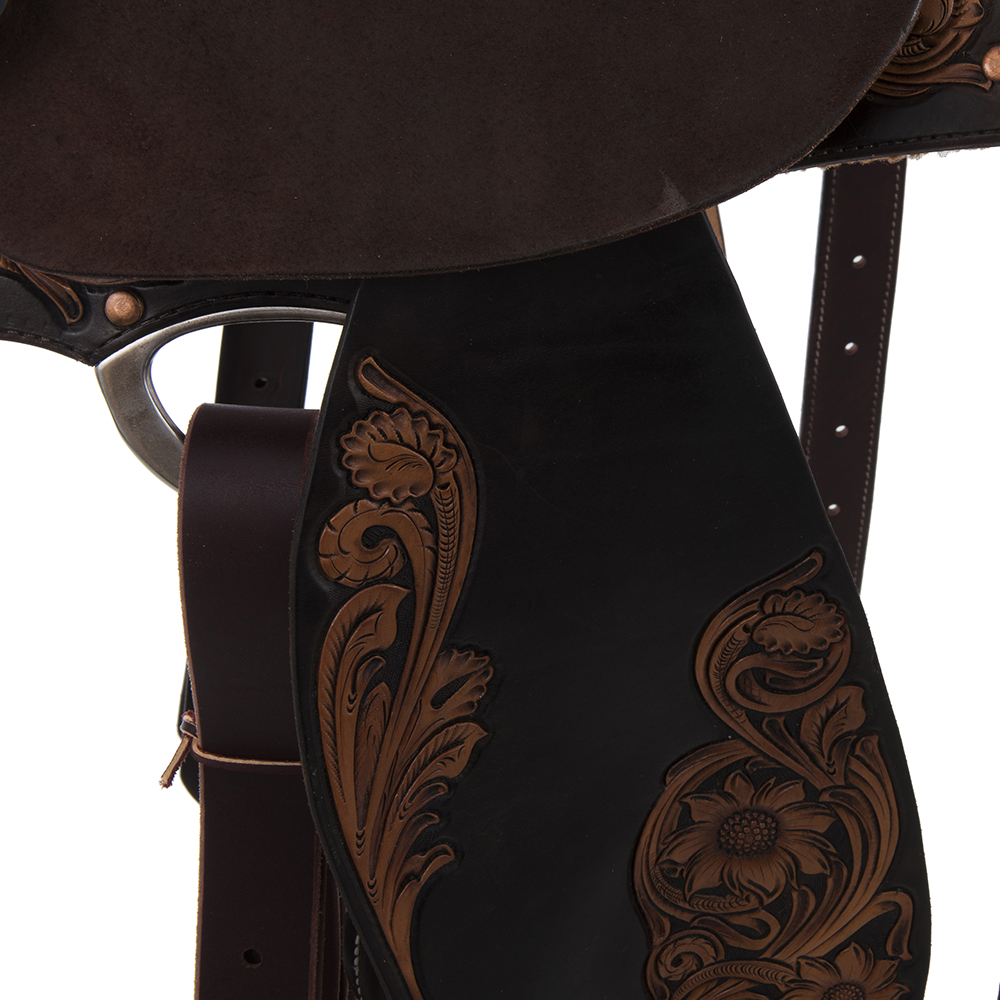 BURNS RUSSET SO/CHOCOLATE RO BARREL SADDLE 3/4 SUNNY D DYED AND ANTIQUED