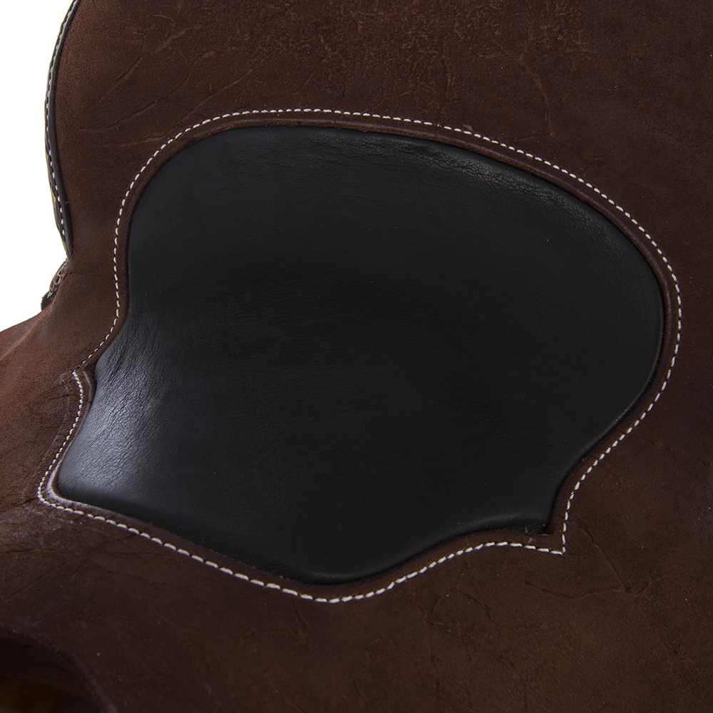 BURNS CHOCOLATE SO/RO BARREL SADDLE W/ 1/2 QUILT - GOLD BUCK STITCH