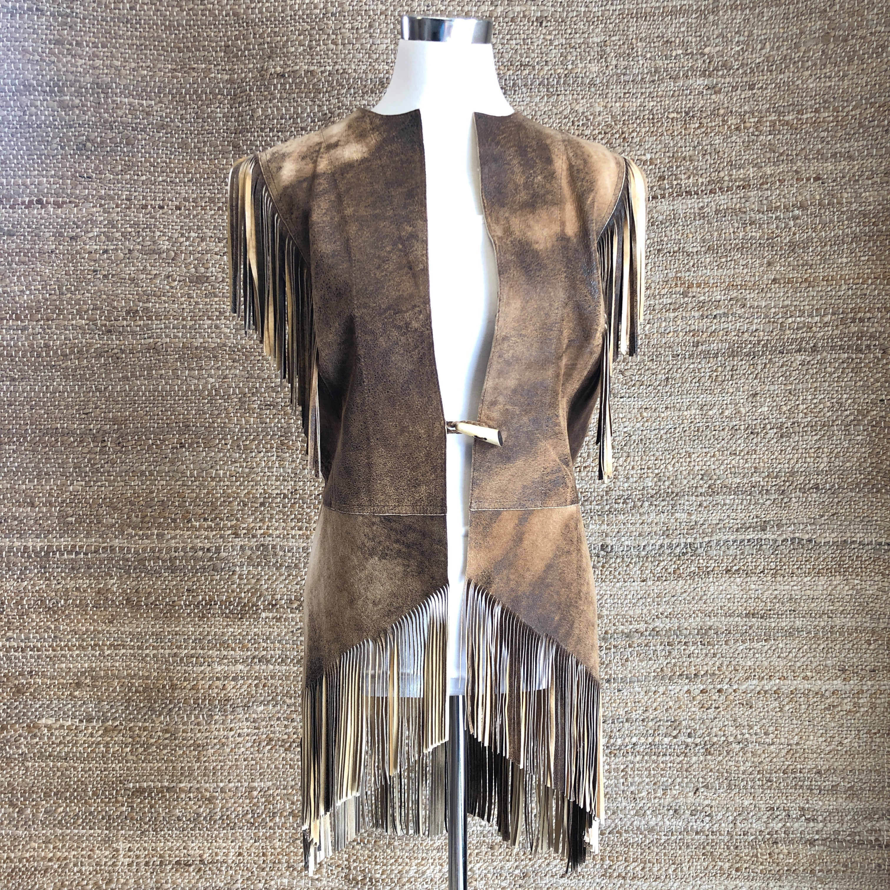 BURNS 1876 LADIES ABSTRACT TAN LAMB VEST