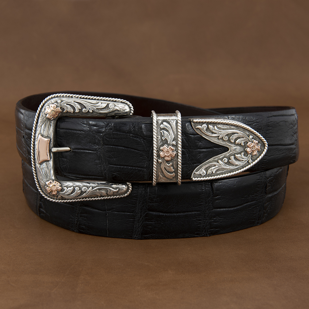 SUNSET TRAILS PAXTON BUCKLE SET W/ 14 K ROSE GOLD