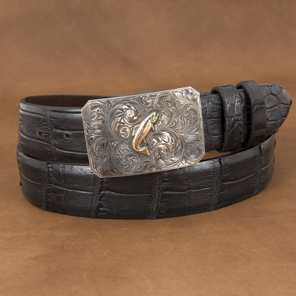 SUNSET TRAILS ENGRAVED MESA BUCKLE W/ 14K TROUT