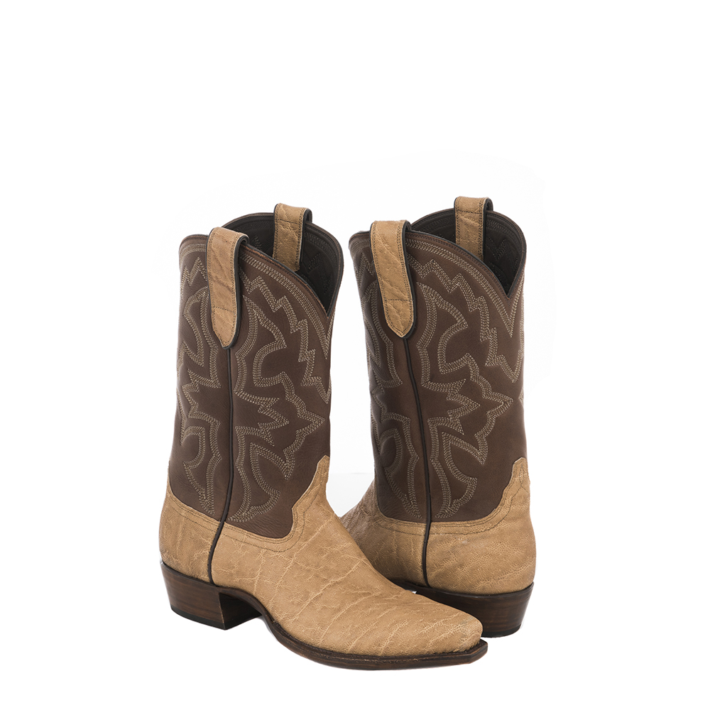 MENS TAN ELEPHANT/BROWN ANALINE COWBOY BOOT