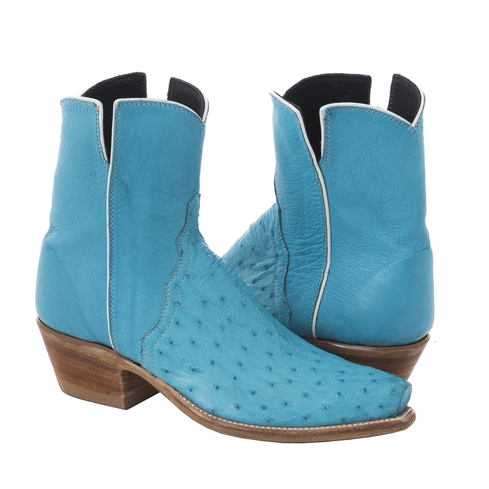 LADIES SHORTY CRYSTAL BLUE SMOOTH OSTRICH