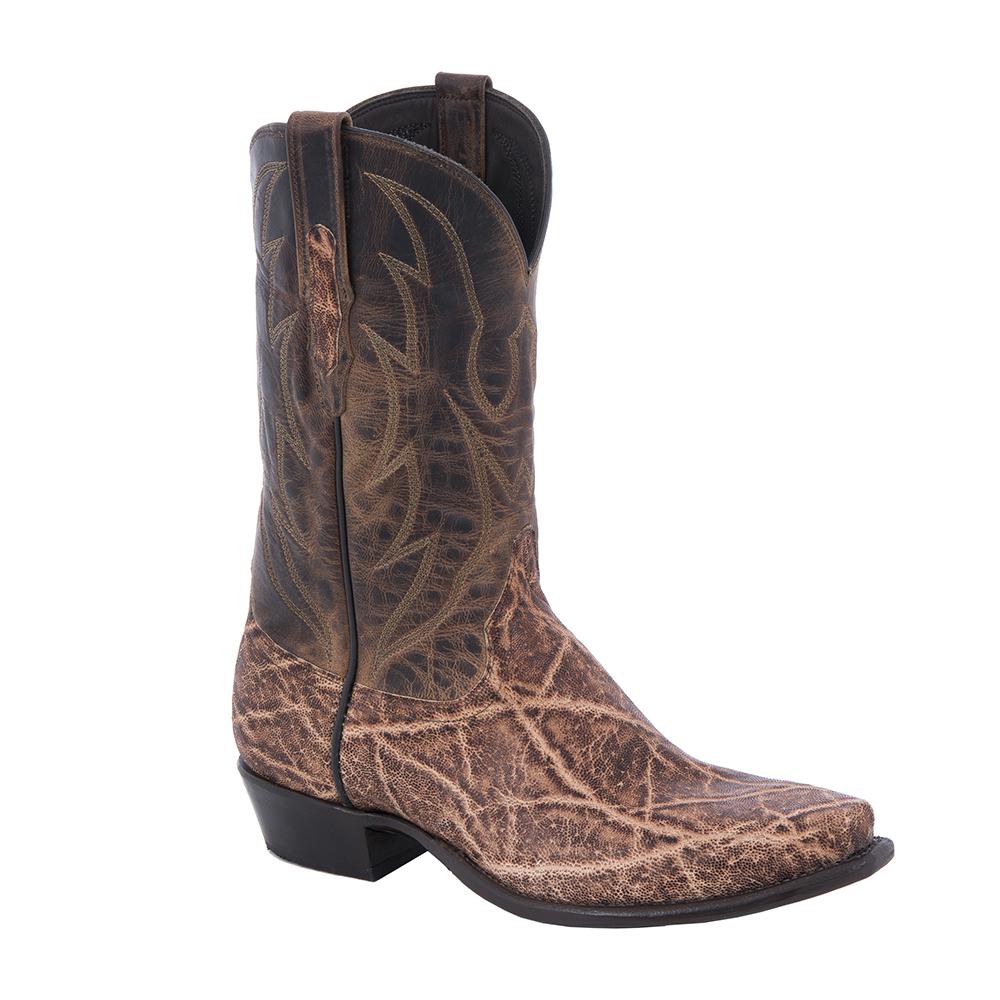 """Men's Cowboy 12"""" Vintage Peat Elephant Canella Goat Crown Stitch"""
