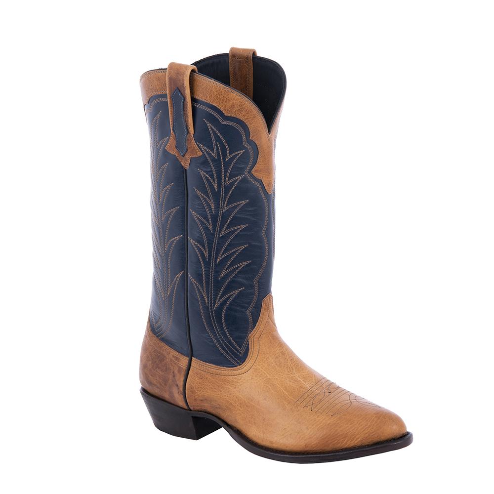 "Mens Cowboy 14"" Honey Bison Navy Top W/Collar"