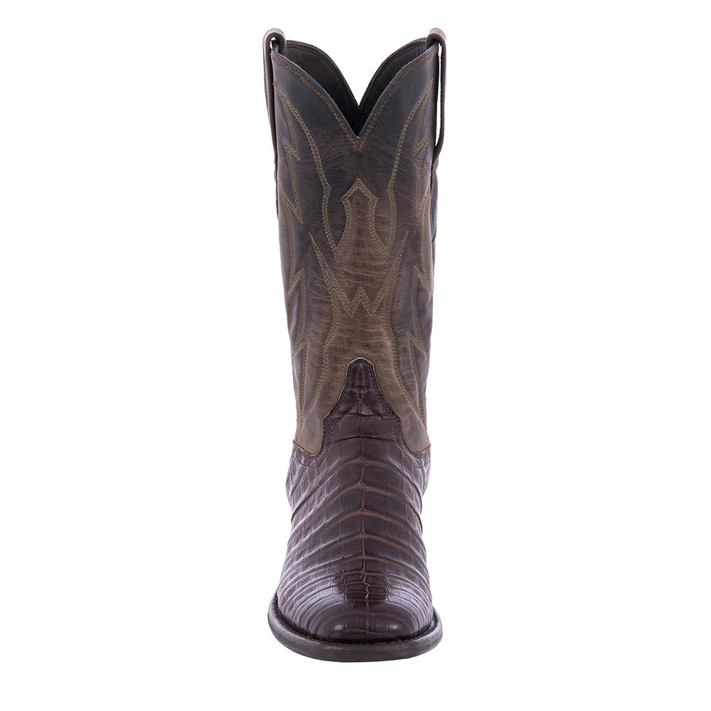 """Ladies Cowboy 12"""" Dark Brown Oily Caiman Belly Tobac Goat Top Crown Stitch"""