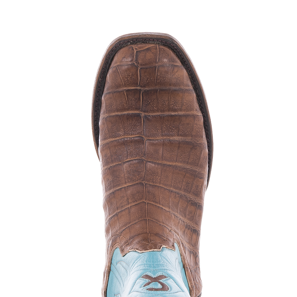 """Ladies Cowboy 12"""" Cigar Pull Up Caiman Belly Turquoise Top With Custom Inlay"""