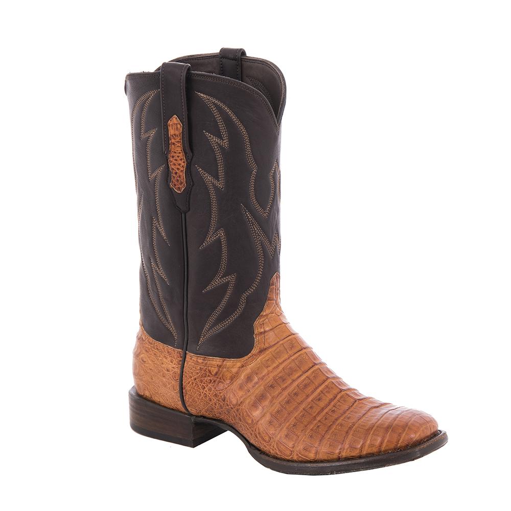 """Men's Cowboy 12"""" Cognac Oily Caiman Arrow Stitched Top"""