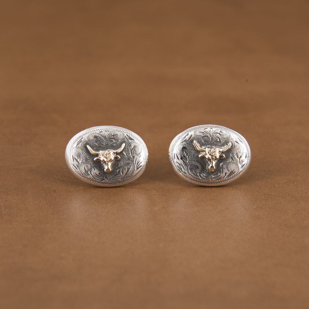 14K GOLD STEER CUFFLINKS (1 AVAILABLE)