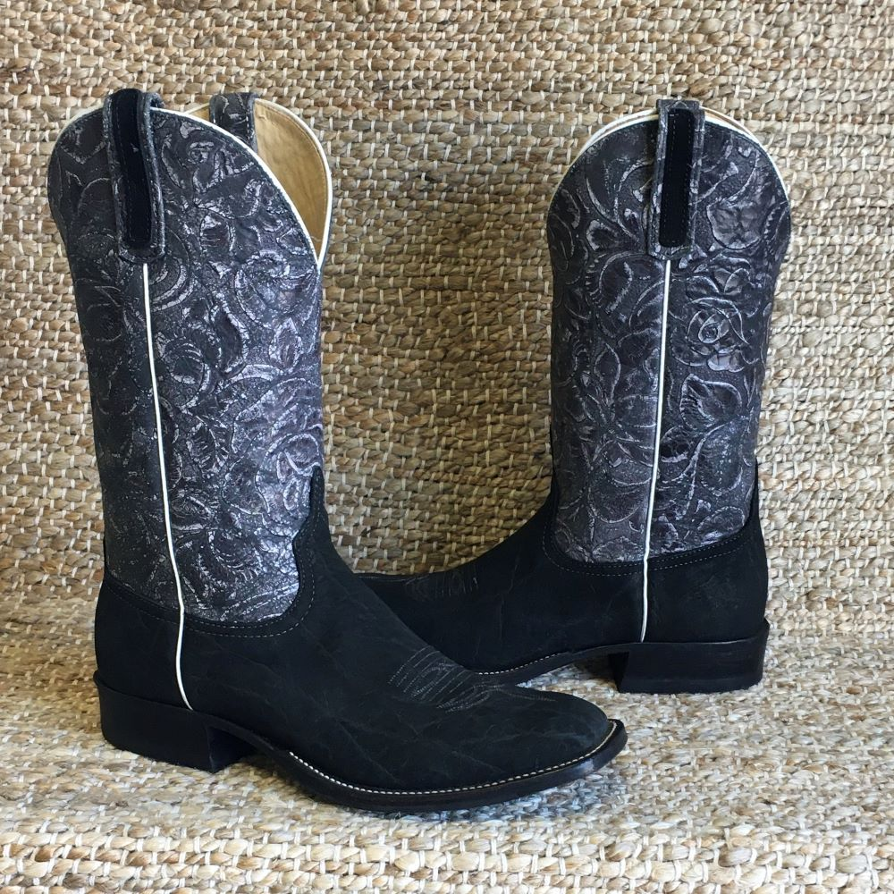 MENS BLACK BURNS CUSTOM ELEPHANT BOOT