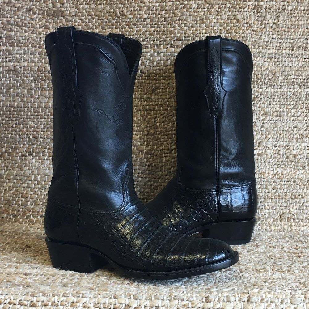 MEN'S BLACK CAIMAN BELLY CROCODILE BOOT