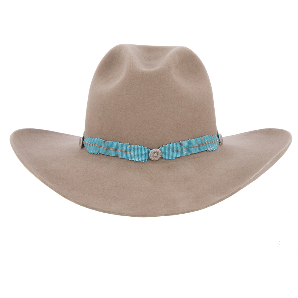 QUILTED TURQUOISE BEAD HATBAND