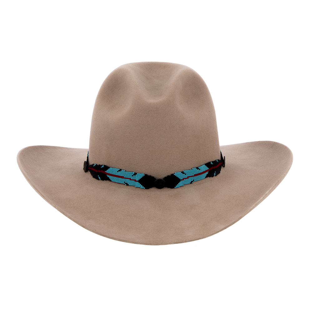 BK/TQ W/ RED STAFF HATBAND 3 BUTTONS 4 FEATHERS (1 AVAILABLE)
