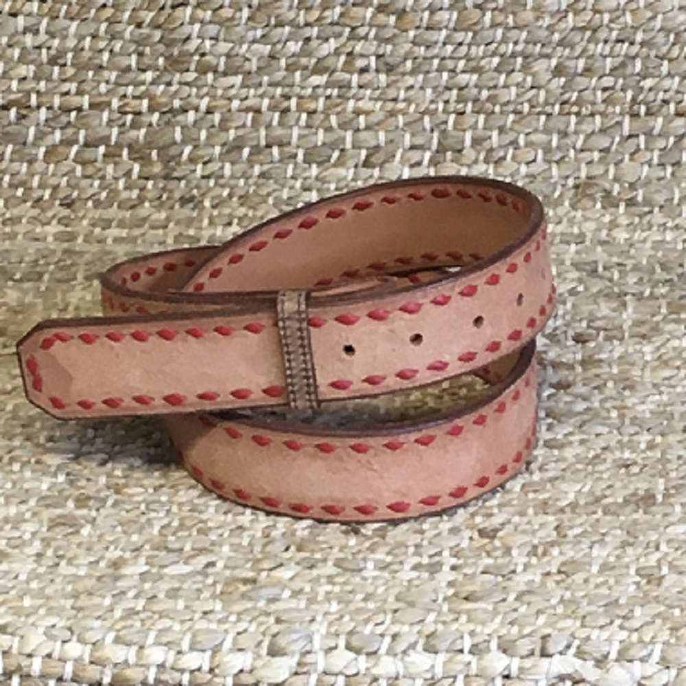 BURNS RED BUCK STITCH RUSSET ROUGHOUT BELT