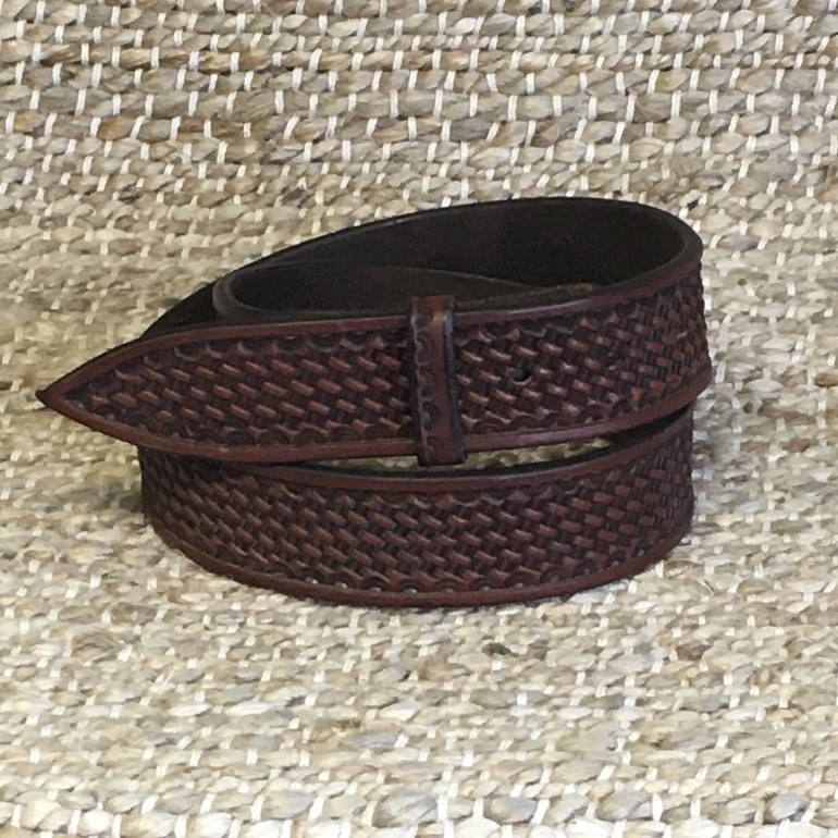 "BURNS 1 1/2"" CHOCOLATE BASKET STAMPED BELT"