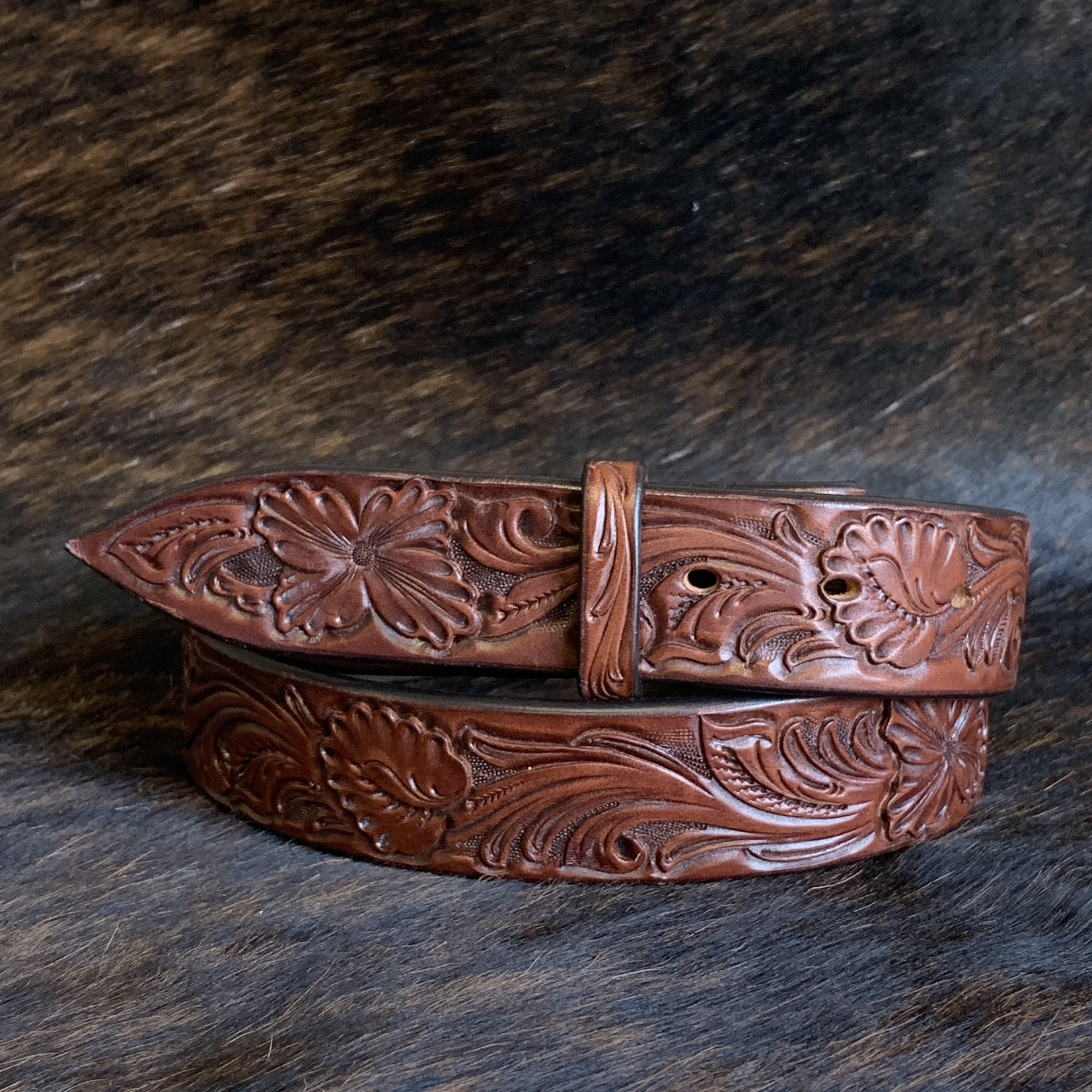 "1 1/2"" BURNS TOOLED MATTI FLORAL CHOCOLATE BELT"