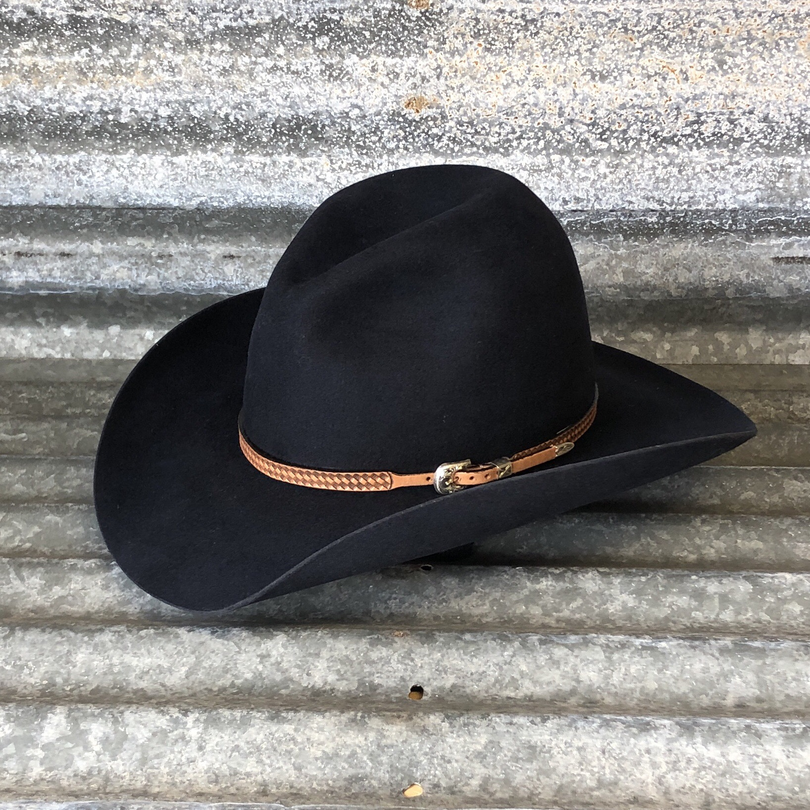"""LOW GUS BELLY CURL 3.75"""" BLACK WITH ANTIQUE BROWN BASKET HAT BAND"""
