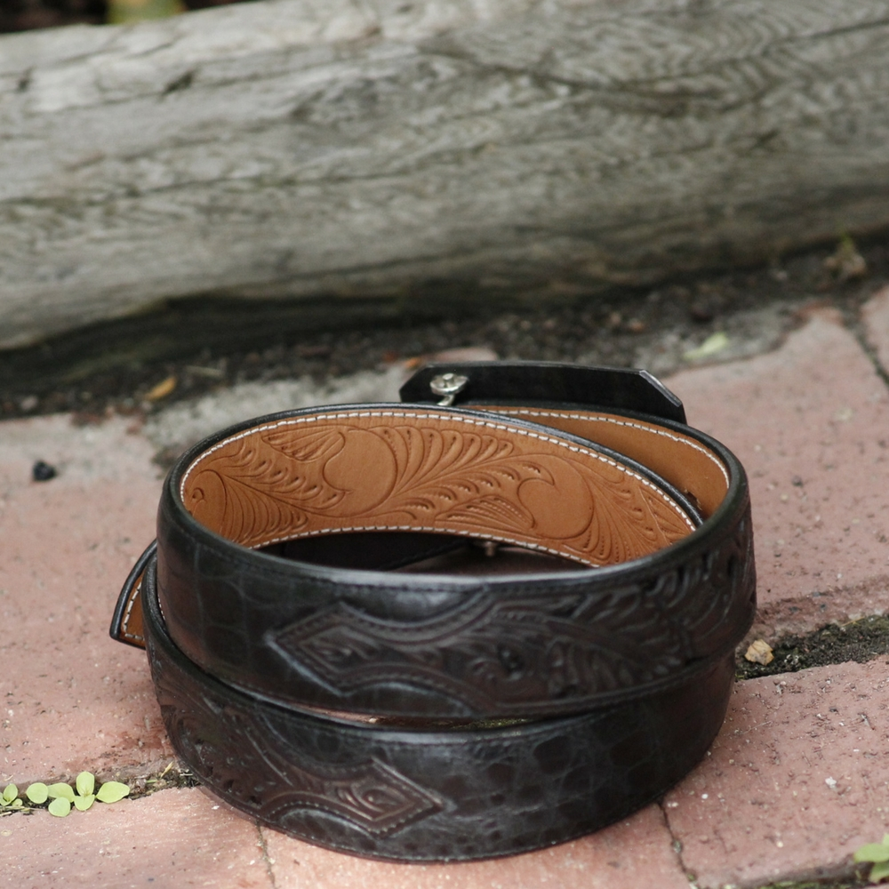 "1 1/2"" BLACK AMERICAN ALLIGATOR BELT"