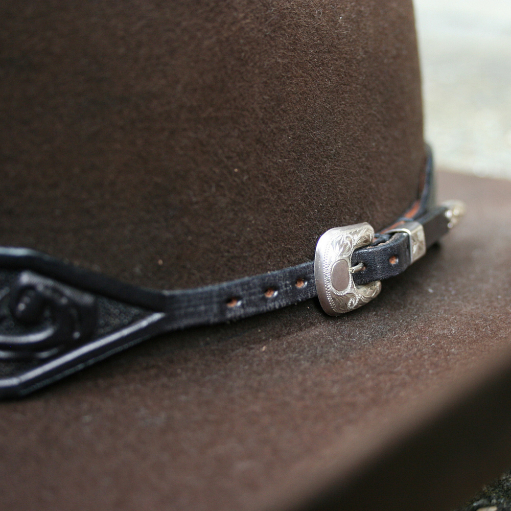 TAPERED BLACK TOOLED HATBAND ()