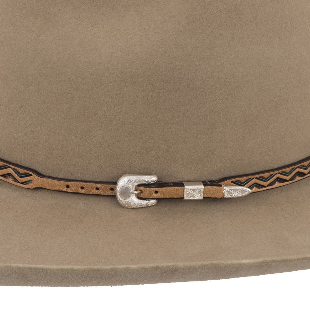 ANTQIUE BROWN AZTEC HATBAND W/TURQUOISE