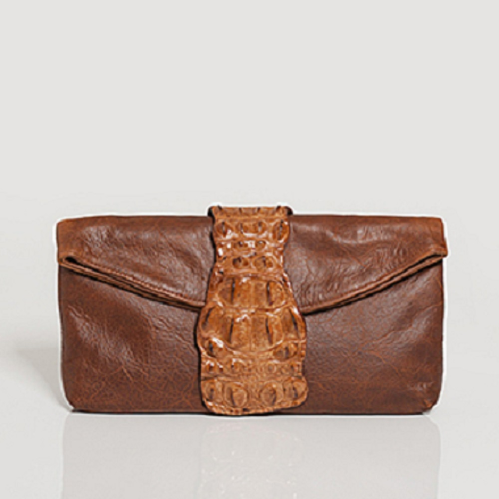 SMALL TAN SANDRA CROCODILE HANDBAG