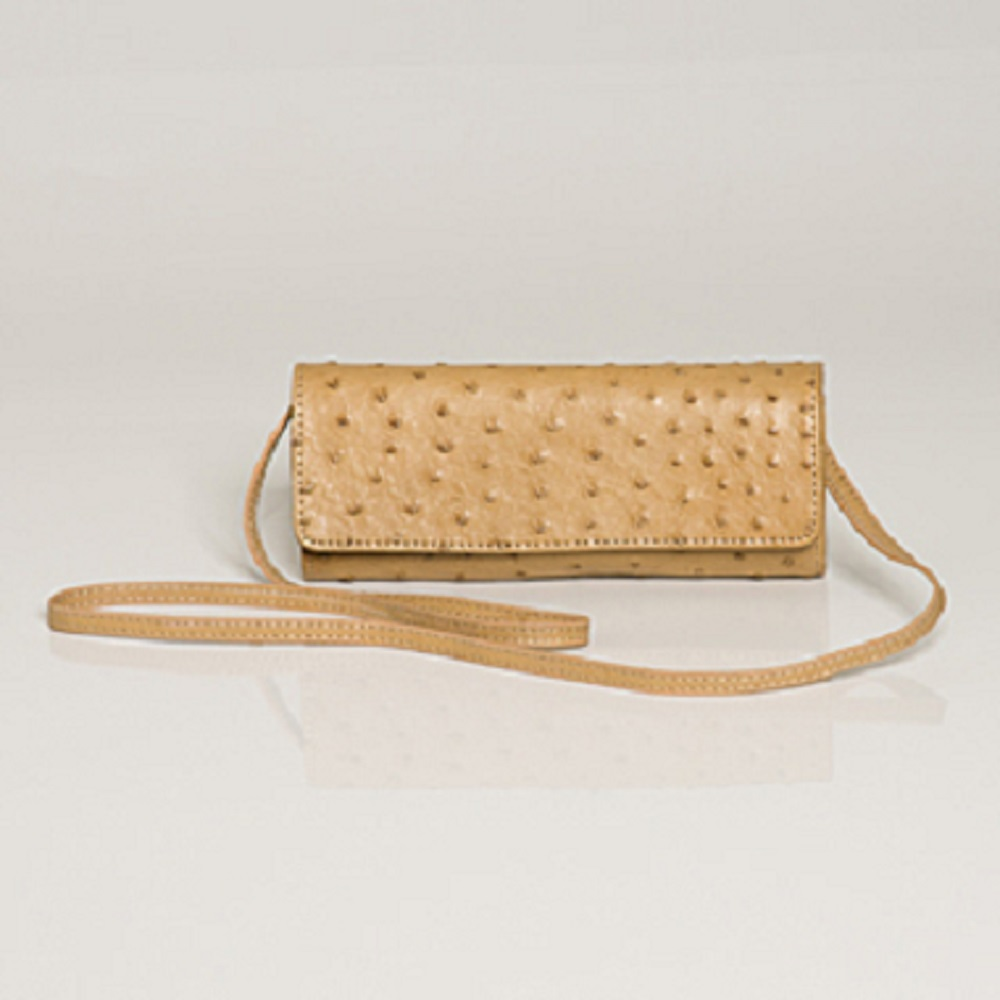 ANGELINA OSTRICH IVORY CLUTCH