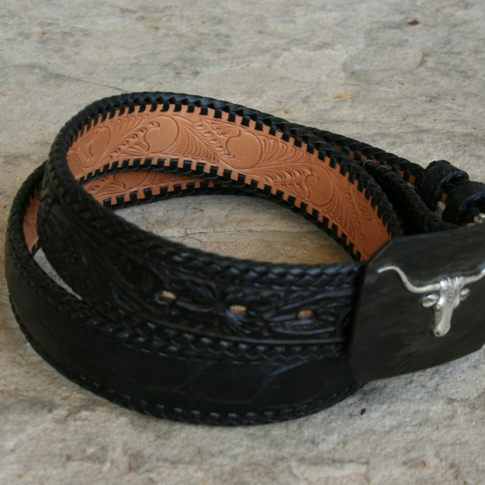 "1 1/2"" LACED ALLIGATOR BELLY TOOLED BELT ()"