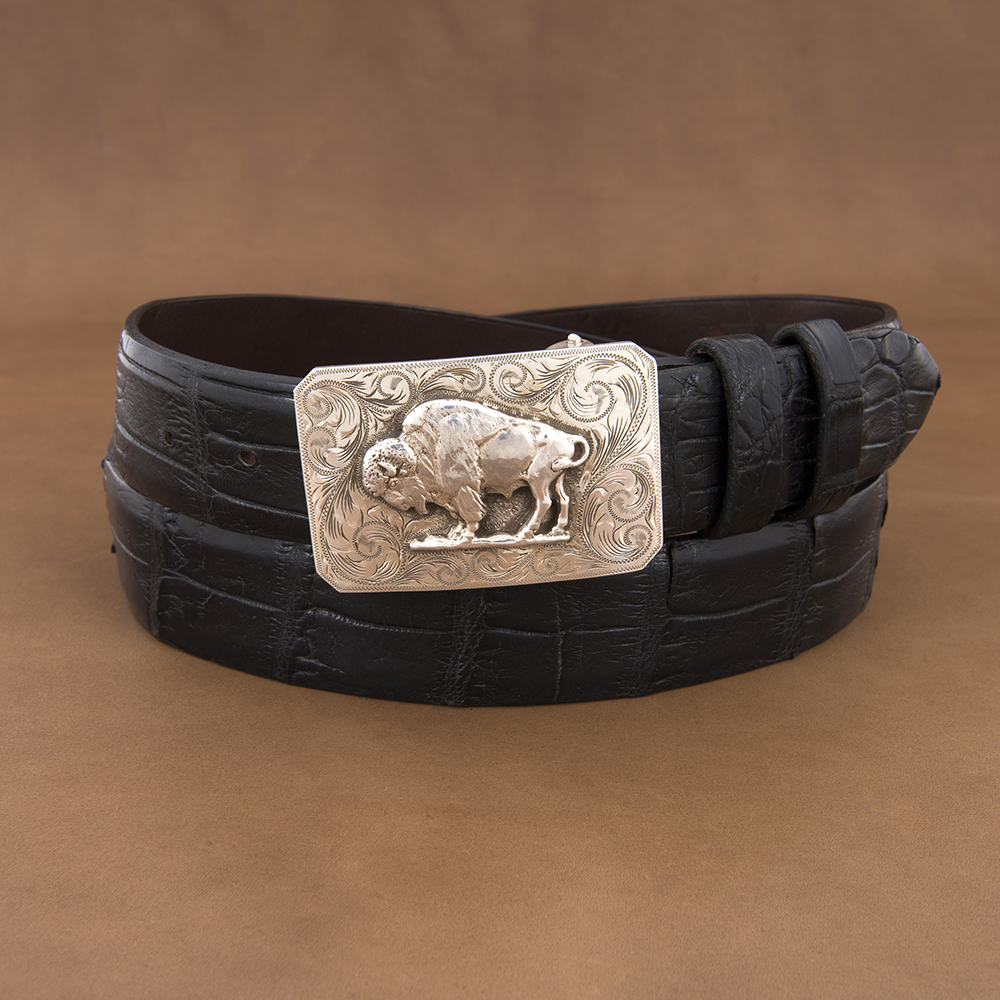 SUNSET TRAILS ENGRAVED MESA BUCKLE W/ HP BISON