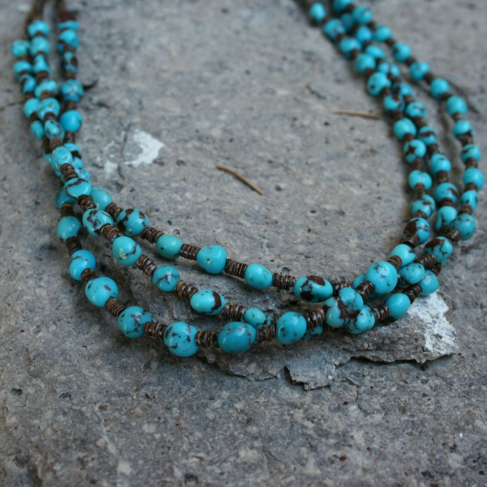 "3 STRAND 20"" EGYPTIAN TQ NECKLACE"