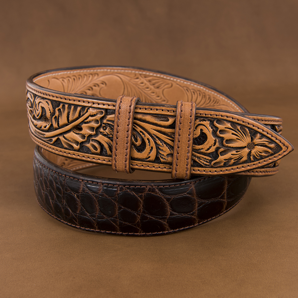 "1 1/2"" AMERICAN ALLIGATOR CHOCOLATE BELT W/ANTIQUE BROWN BILLETS"