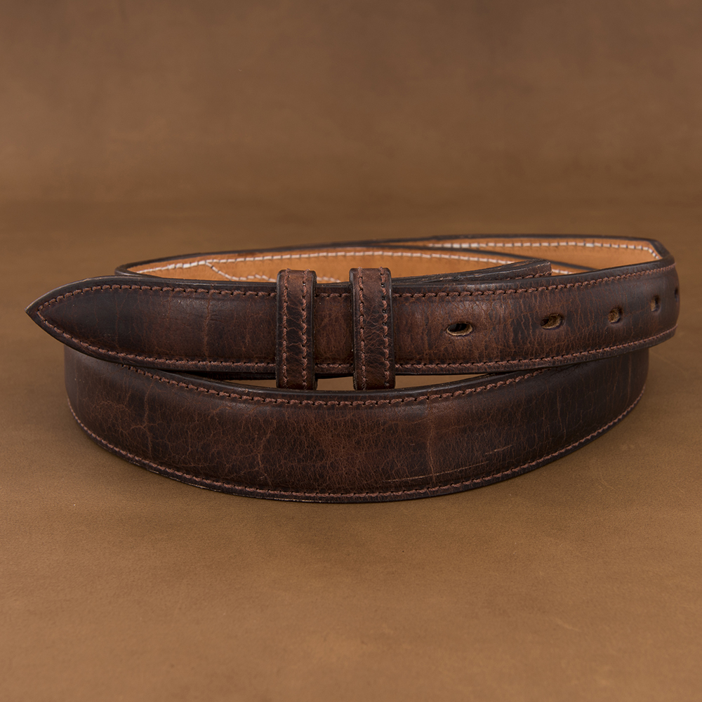 TAPERED MOCHA BISON BELT W/BILLETS