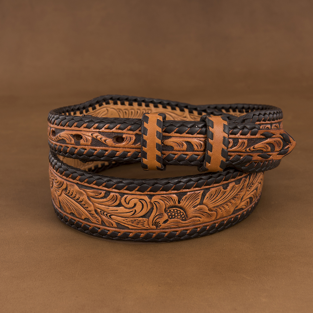 "1 1/4-1"" TOOLED BELT ANTIQUE BROWN W/ CHOCOLATE LACE ()"