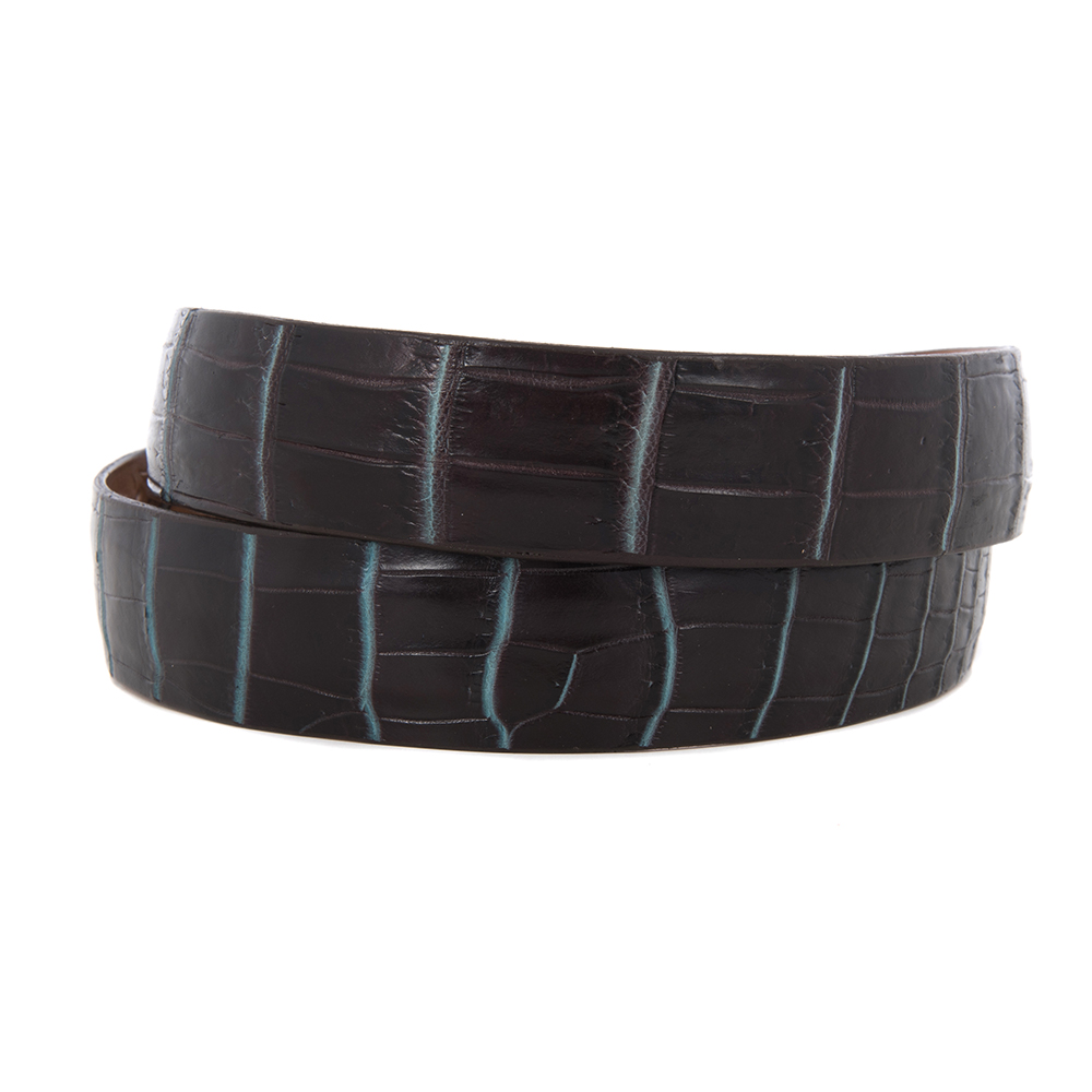 """1 1/4"""" BROWN AND TURQUOISE GATOR BELT"""