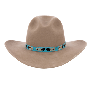 13 Wide Turquoise Hatband w/Brown & Tan Feathers