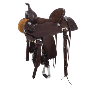 BURNS SADDLERY CHOCOLATE SADDLE W/ROSE